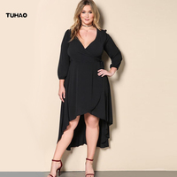 Plus Size 3XL Women Long Dresses 2018 Spring Sexy Party Retro High Waist Large Size Puff Sleeve Vestido Red Black Dresses BC06