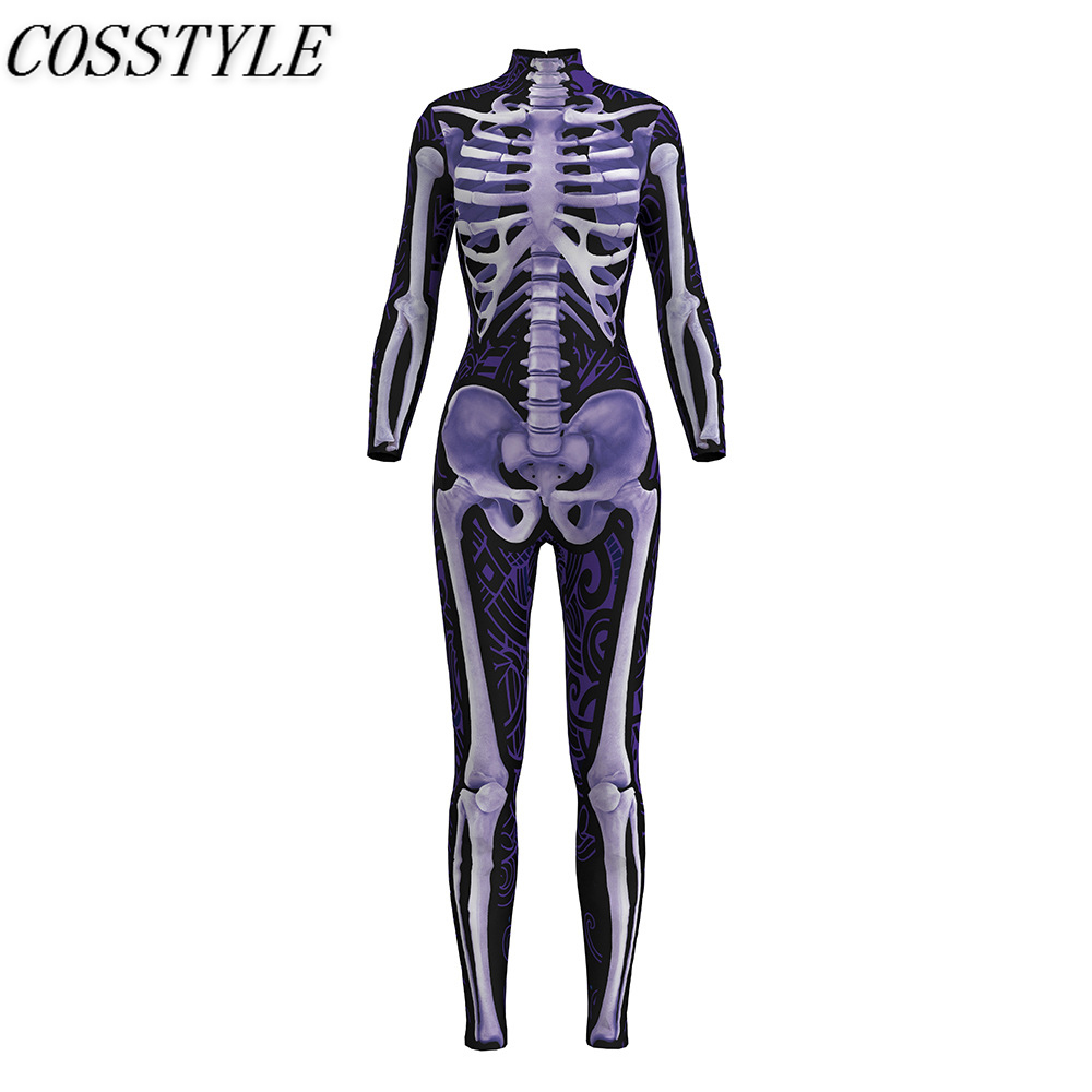 Womens Halloween Cosplay Skull Skeleton 3D Print Bodysuits Costume Stretch Skinny One-piece Catsuit Overall Jumpsuits Feminino