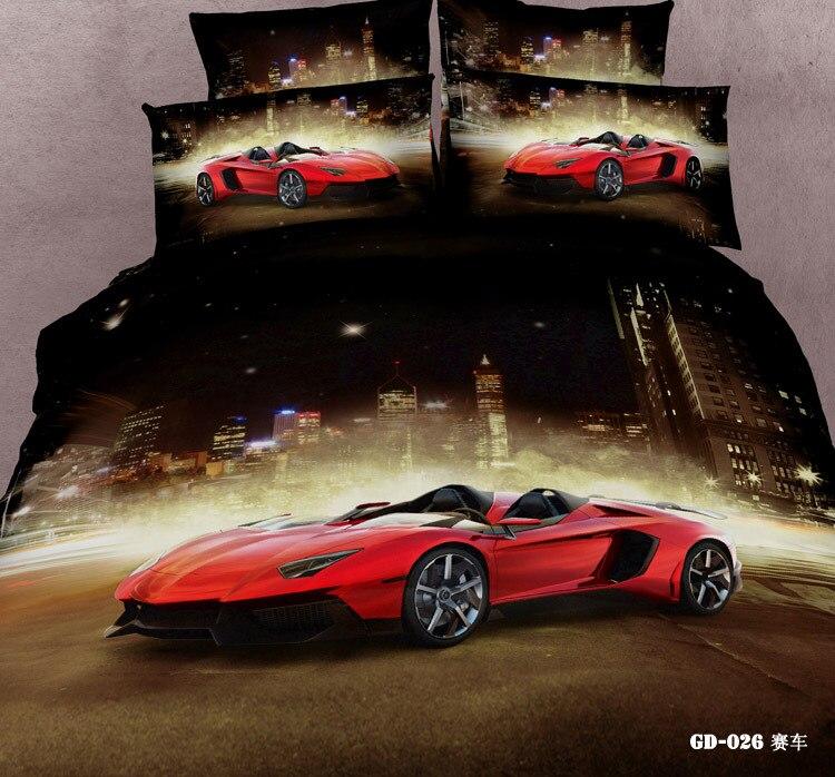 (3 7 Piece) 100% Cotton Race Car Bedding Set Full Queen