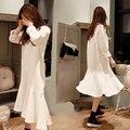 2016 Корея Новая Весна С Длинными рукавами Трикотажные Dress Корейские Одежды Женщин Вязать Бэк Воланами Fishtail Dress