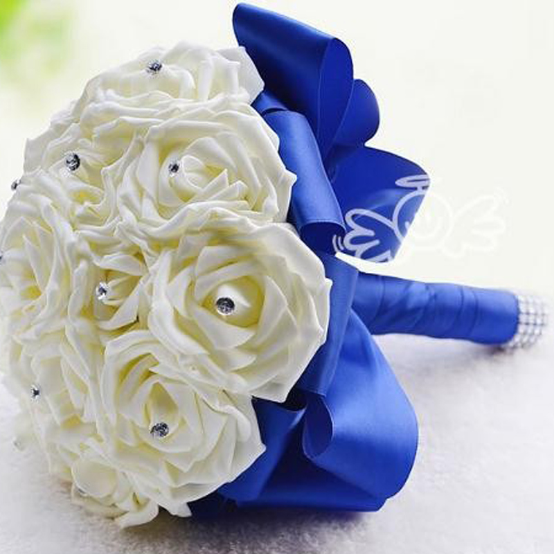 Artificial Bridesmaid Flowers Wedding Bridal Bouquets Royal Blue Silk Ribbon Handmade Accessories Bouquet In Dried From