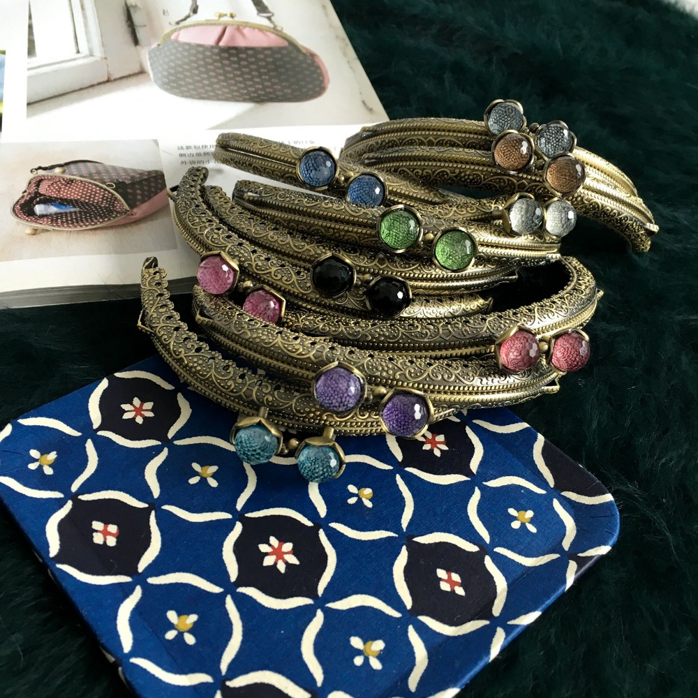 10.5cm Metal Purse Frame Clasp With Candy Decoration Buckle For DIY Girl Bag Accessories Hardware Mouth Golden 5pcs/lot
