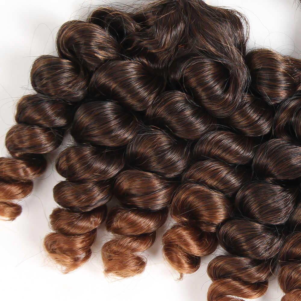 X-TRESS 16-18 بوصة فونمي مجعد تموجات الشعر الاصطناعية 4 حزم أومبير اللون البني لحمة شعر قصير تمديد ألياف مقاومة للحرارة