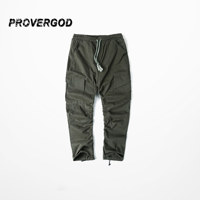 PROVERGOD Army Pants Casual Skinny Elastic Botton Sweatpants Solid Hip Hop Street Trousers Pants Men Joggers Slimming Pant