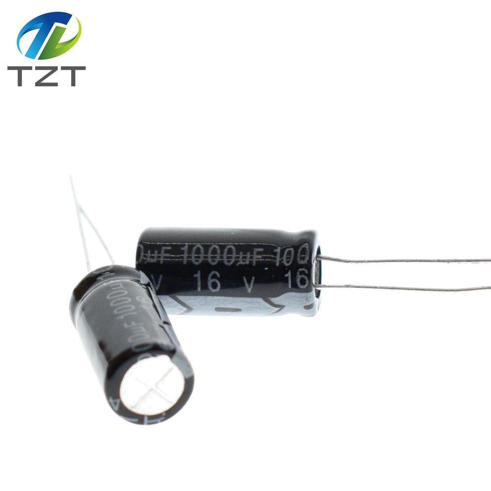 50PCS 1000uF 16V 105C Radial Electrolytic Capacitor 8x16mm