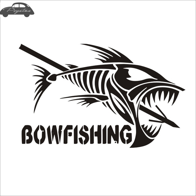 Pegatina Bow Fishing Skull Fish Hunter Decal Angling Tackle Shop