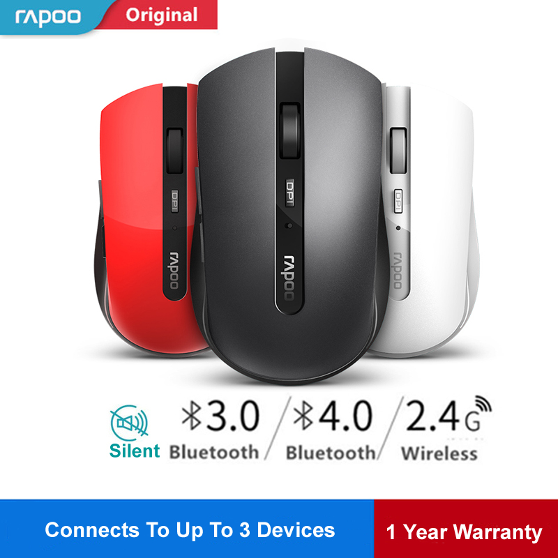 Rapoo 7200M Multi-mode Silent Wireless Mouse Switch Between Bluetooth &2.4G Connect N3 Devices 1600dpi Mice Phone Computer Mouse