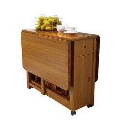 Mesa de jantar de madeira maciça mesa dobrável simples retrátil mesa de carvalho do agregado familiar pequena mesa de jantar