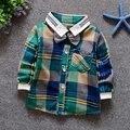 Мальчики классические плед и проверьте воротник с лацканами боути дети детские футболки вершины roupas де bebe