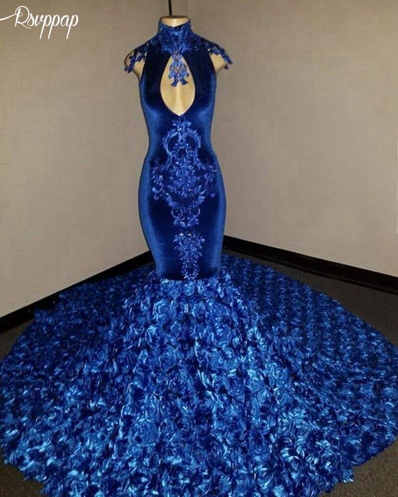 Long Prom Dresses 2019 Elegant Mermaid High Neck Sexy Flowers Royal Blue Floor Length African Black Girl Velvet Prom Dress