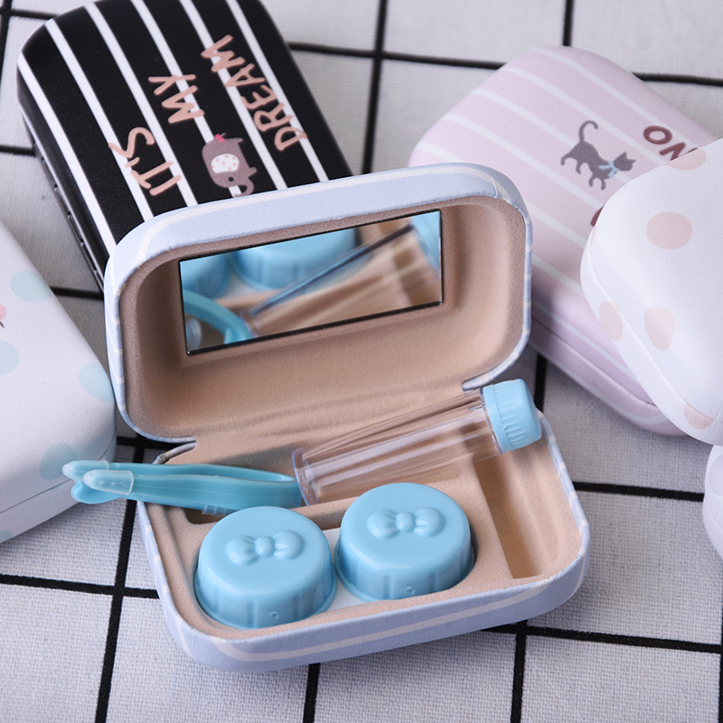 Character Printed Contact Lenses Case Square Containers Eyeglasses with Mirror Storage C ...