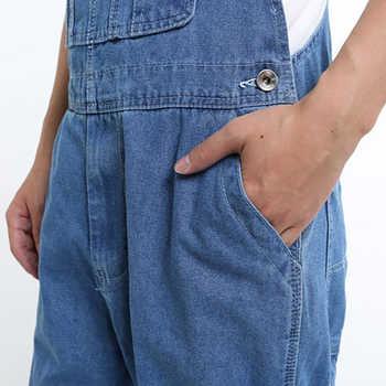 Sokotoo Men\'s casual loose pocket overalls Comfortable denim jumpsuits Plus big size Jeans for man Blue pants