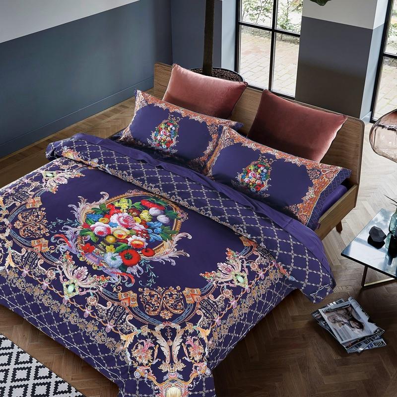 IvaRose 2017 purple Bedding Set Boho printing Duvet Cover and Pillowcase Indian Style Print Exotic Bedclothes Multi Sizes