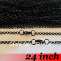 Gun Metal Black 100pcs 2mm 24inch Rolo Chain Necklace Jewelry DIY Accessories
