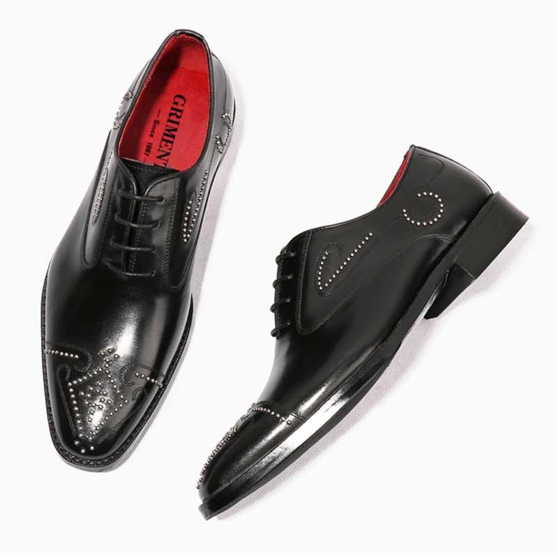 Main Black Rivets Véritable Hommes Chaussures Cuir Grimentin À Robe Noir Luxe En La Mariage Personnalisé De Pq0ExZg