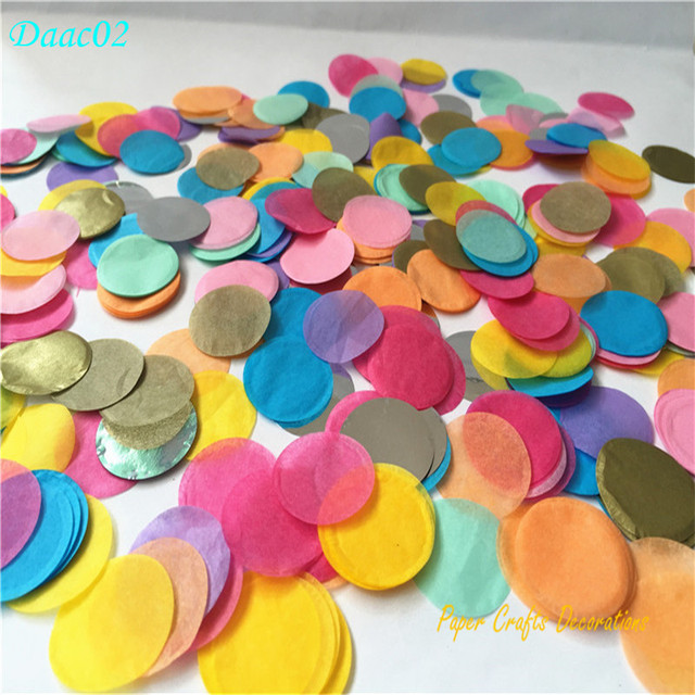 30g pack 2 5cm 1inch mixed color circle shape tissue paper confetti