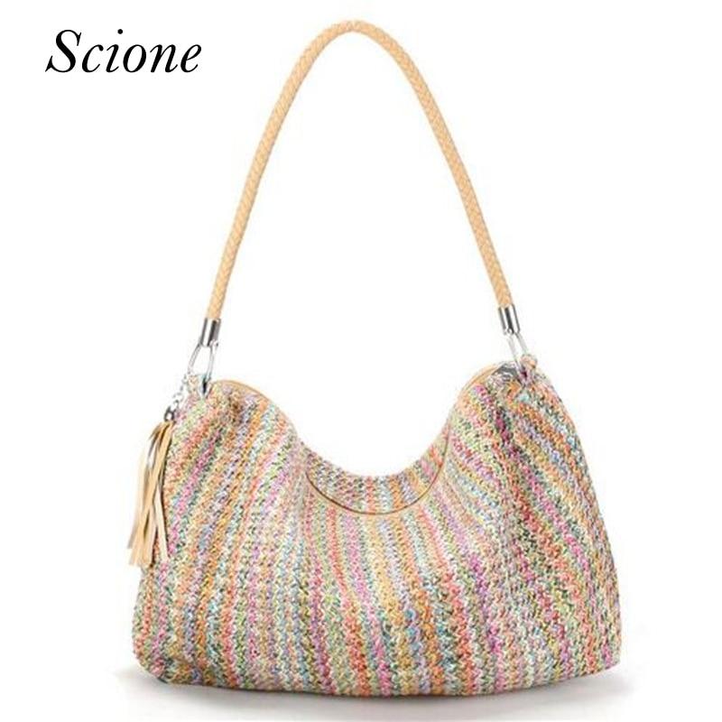 Hot Bohemia Style Tassel Braid Strap Weave Summer Beach Bags Knitted Straw Shopping Tote Women handbag Shoulder Bag Bolsa 131046