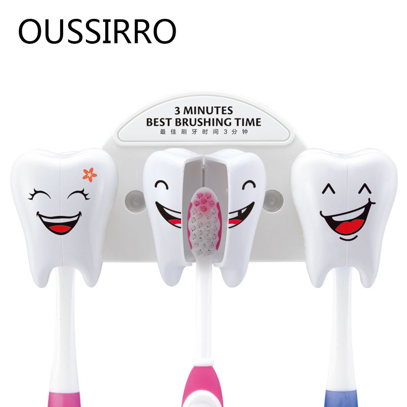 Cute Smile Teeth Style Sucker Toothbrush Holder Cartoon Toothbrush Stand Suction Container Bathroom Supplies For Kitchen Family