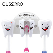 Cute Smile Teeth Style Sucker Toothbrush Holder Cartoon Stand Suction Container Bathroom Supplies For Kitchen Family