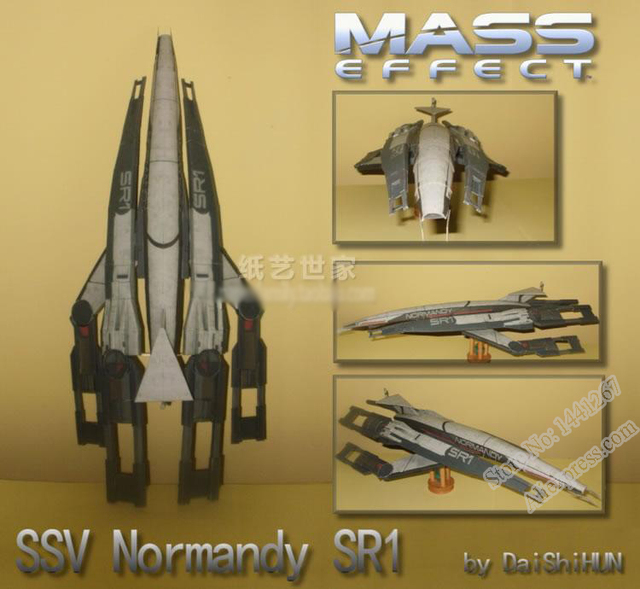 Mass Effect 2 SSV Normandy SR1 Nave Espacial 3D Modelo de Papel DIY