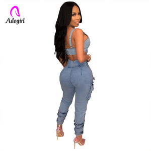 Image 3 - Hohe Taille Jeans für Frauen Schlank Stretch Denim Jean Bodycon Faux Hülse Gürtel Bandage Dünne Push Up Jeans High Street fracht Jeans