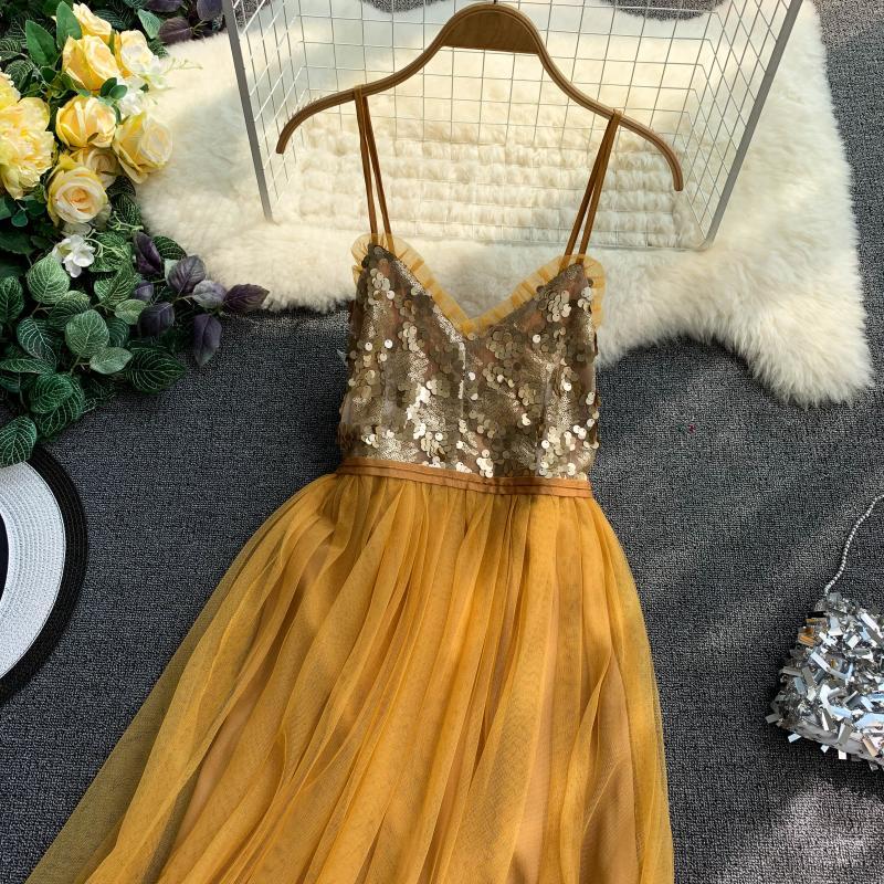 V-Neck Sequins Backless Sleeveless A-line Dress 14