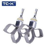 TC-X XHP50 رقاقة 10000lm ضوء السيارة قاد h7 h11 h8 الضباب الضوء 9005 hb3 9006 hb4 6000 كيلو الصرفة الأبيض السوبر مشرق استبدال عدسة المصباح
