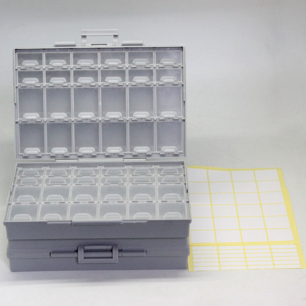 AideTek 2 unit of BOXALL48 lids empty enclosure SMD SMT organizer surface mount plastic part box lable DE UK ship 2BOXALL48 aidetek 2 box esd safe smd ic box w 144 bins anti statics smd smt organizer transistor diode plastic part box lable 2boxallas