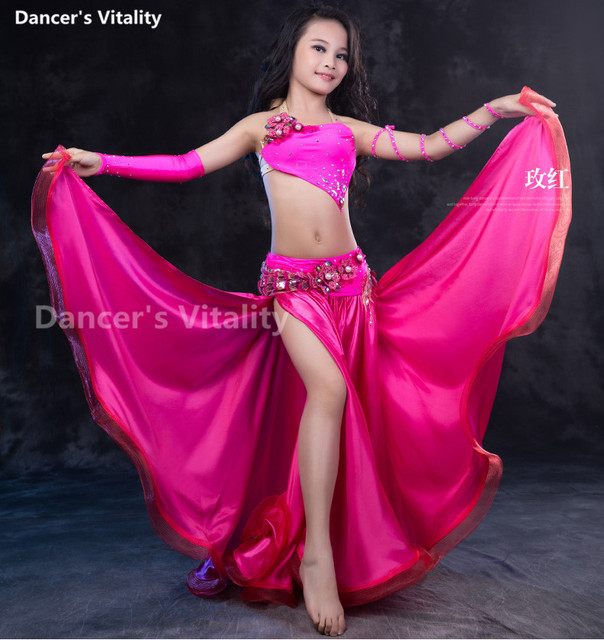 Professional dance dress  Kids luxury belly dance set suit children senior belly dance clothes 4pcs girls dance performance suit