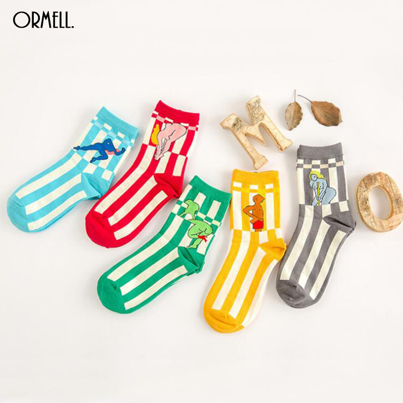 NEW Free Shipping Fashion Cotton Striped Sexy Printed Socks Character Pattern For Women Harajuku Design Sock