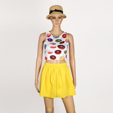 Sweet Cute Women Dress Print Florals Mini Dresses Sleeveless Slim Fit Bodycon Beach Dress Vestido De Festa 2017 2 Pieces LJ4708Z