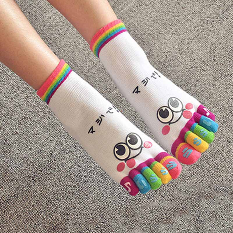 Fashion Cute Face Funny Socks Women GIrls Five Fingers Trainer Toe Rainbow Color Ankle Socks