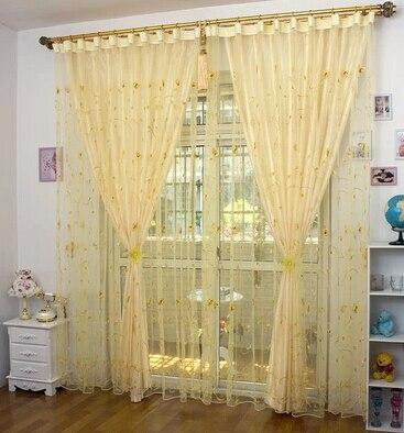 Rideau et Tulle ensemble rose brodé balcon fenêtre criblage personnalisé rideau pour chambre enfants chambre