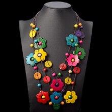 Bohemian Flowers Pendant Necklace Women Choker Collar 2019 Multi Layer Wood Tassel Statement Party jewelry