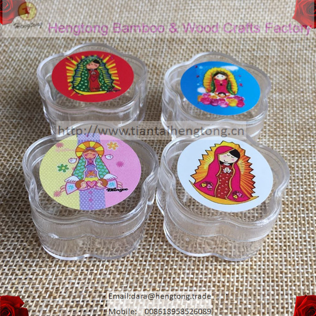 10pcs/pack Mini Transparent Plastic Rosary Box,round Gift Box With Baby Virgin Of Guadalupe Icon For 7mm Beaded Rosary Bracelet