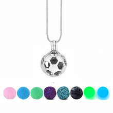 2018 Football Necklace DIY Cabochon Pearl Cage Diffuser Lava Stone Locket Necklace Vintage Essential Oil Aromatherapy Necklace(China)