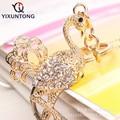 Cute flamingos Pendant keychain Fashion Rhinestone Crystal Creative ladies dress handbag wallet Jewelry Llavero Chaveiro