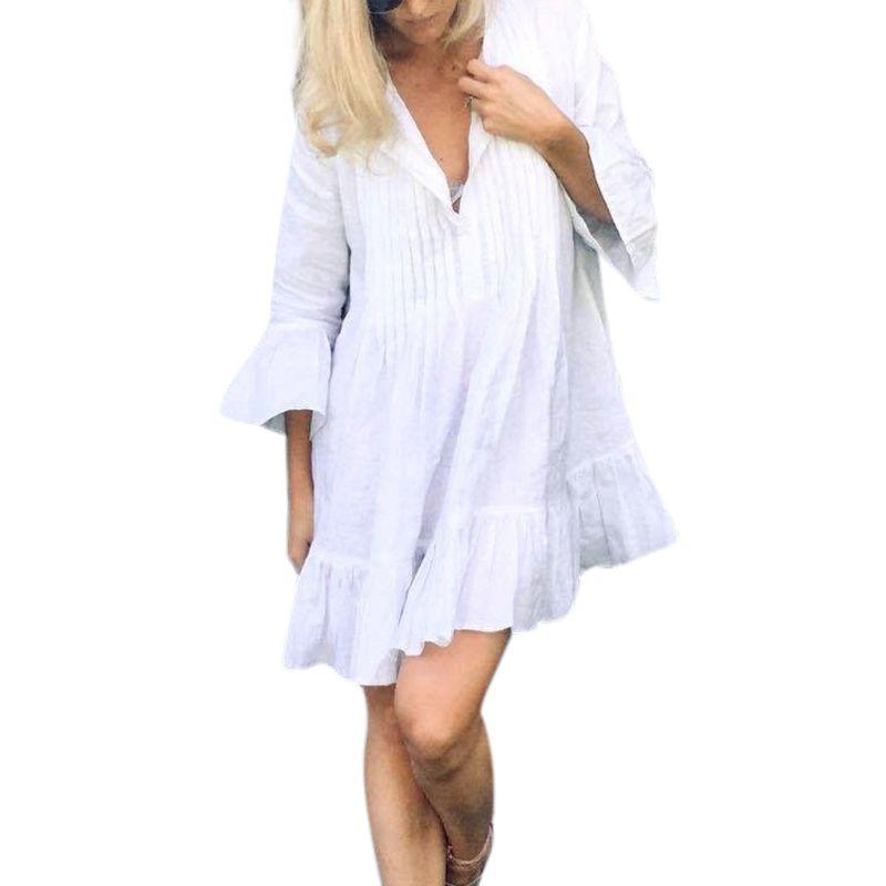 Women Summer Long Flare Sleeve Bikini Swimsuit Cover Up Oversized Pleated Button V Neck Blouse Pullover Tunic Tops Ruffles Hem B in Bikinis Set from Sports Entertainment