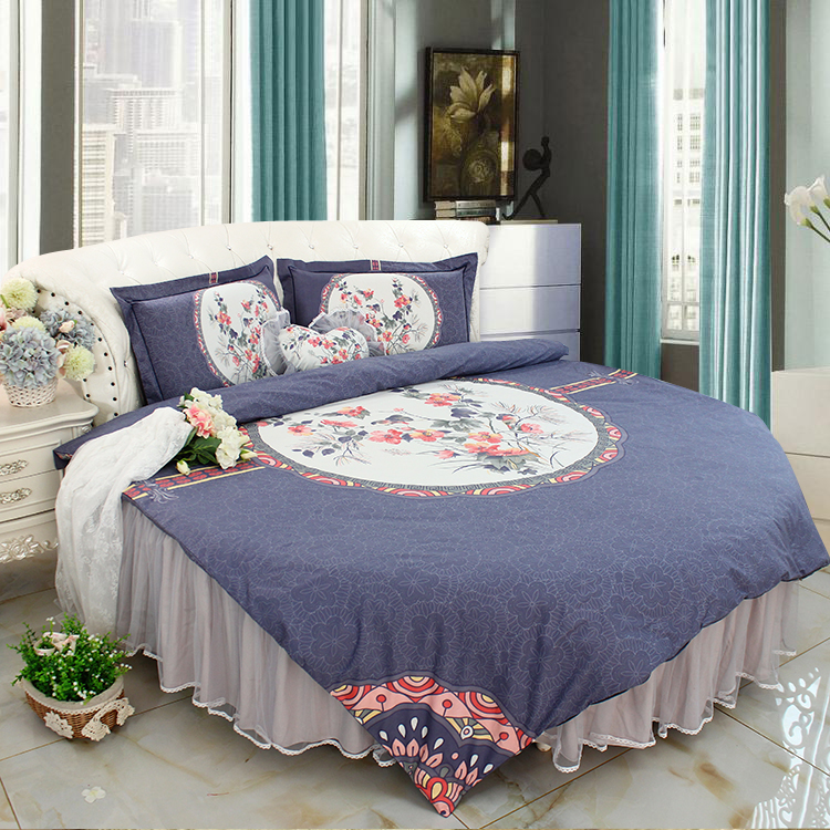 US 6 OFF ROUND BED BLUE VILLA LUXURY LACE Bedding Set SuperKing PALACE Round Bedding Duvet Cover Bedskirt Sets Freeshipping In Bedding Sets