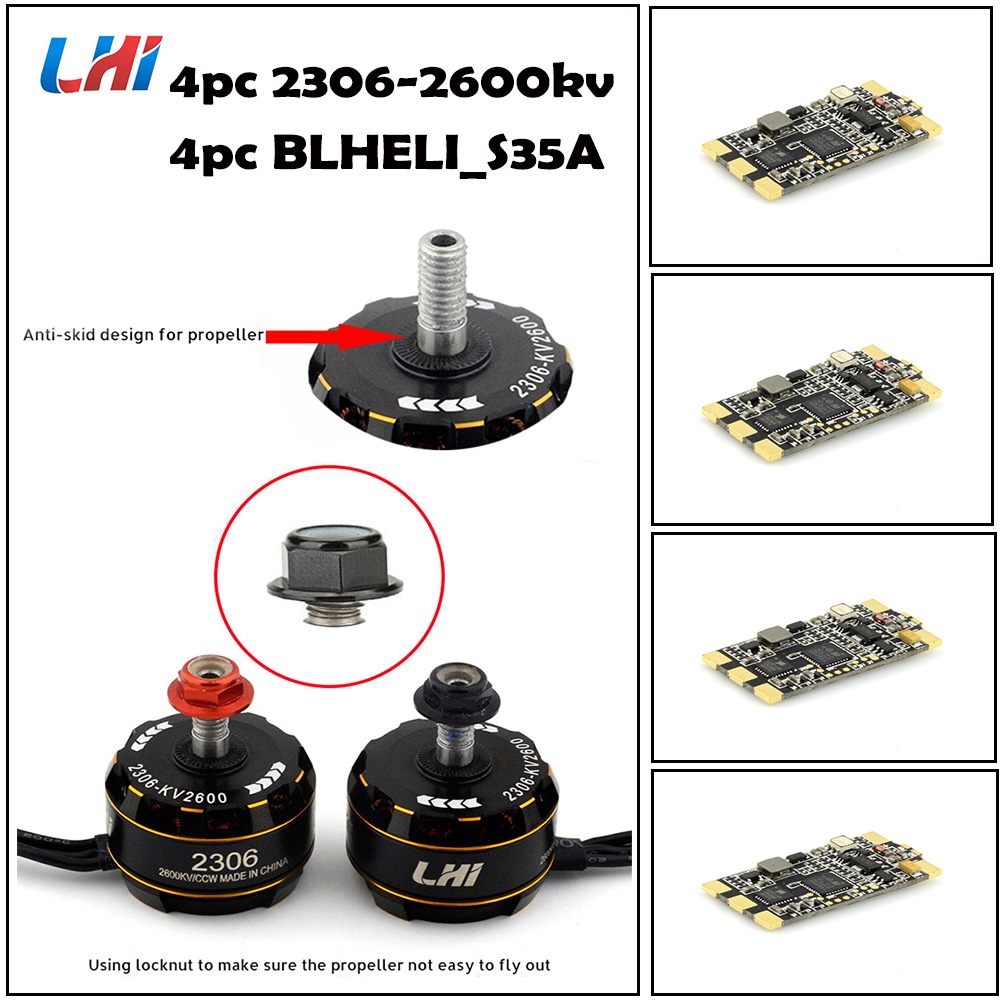LHI Brushless 4pcs 2306 Motor FPV kv2600 CW/CCW 4PCS Wraith32 32bit blheli_s 32 ESC 30A-35A DSHOT1200 Built in Current Sensor lhi fpv 4x mt2206 2300kv cw ccw fpv brushless motor 2 4s 4 pcs racerstar rs20a lite 20a blheli s bb1 2 4s brushless esc