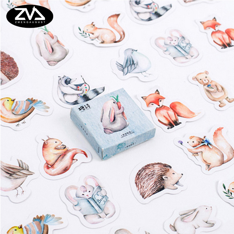 45 Pcs/lot Cute Forest Animal Mini Paper Sticker  Kawaii DIY Decoration Stickers Sealing Stickers Stationery