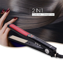 2in1 LCD Digital Hair Straightener Curler Ceramic Floating P