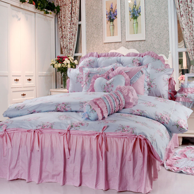 FREE SHIPPING! Rustic puff sleeve princess laciness bedding piece set