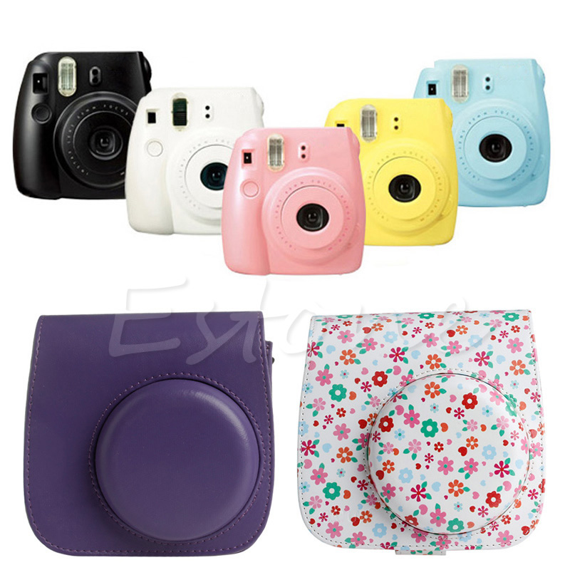 2018 NEW Flower Faux Leather Camera Case Bag Protector For Fujifilm Polaroid Instax Mini8