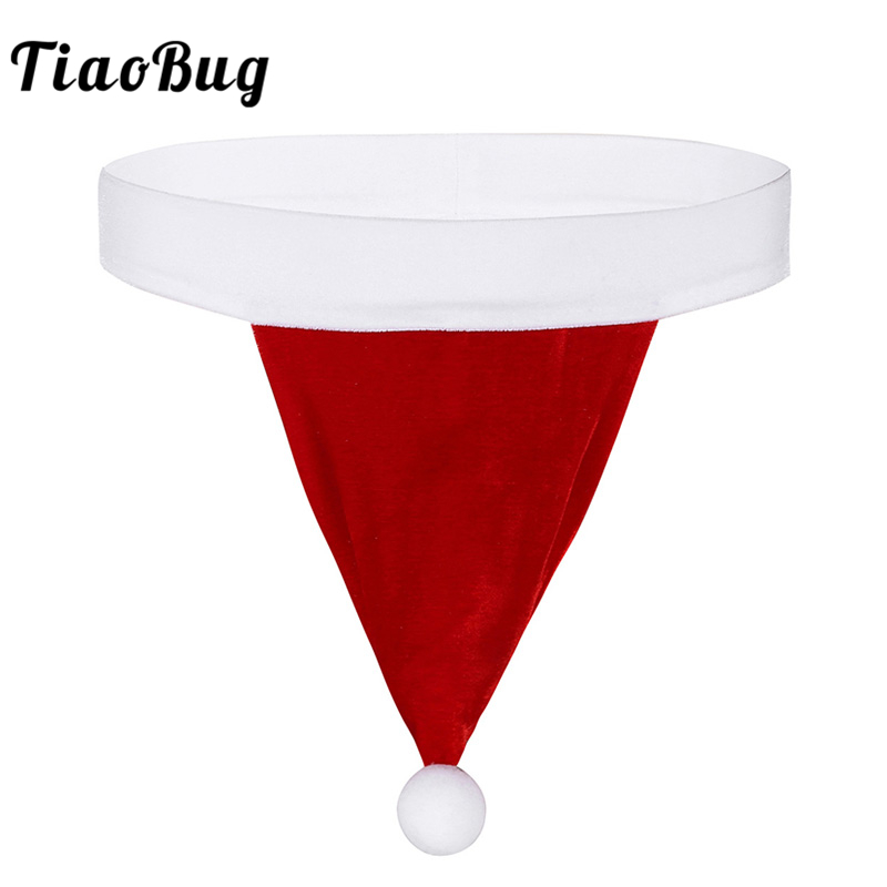 <font><b>TiaoBug</b></font> Men Sexy Underwear Red Christmas Costume Santa Hat Velvet <font><b>Homme</b></font> G-string Thong Hot Male Xmas Party Fancy Underpants Gift image