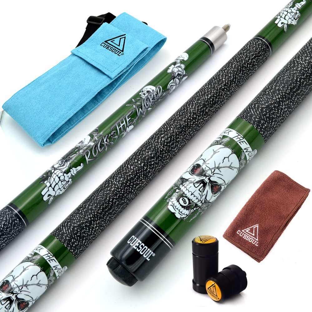 CUESOUL ROCK II 57 19/20/21 oz Green Pool Cue Stick With Cue Bag