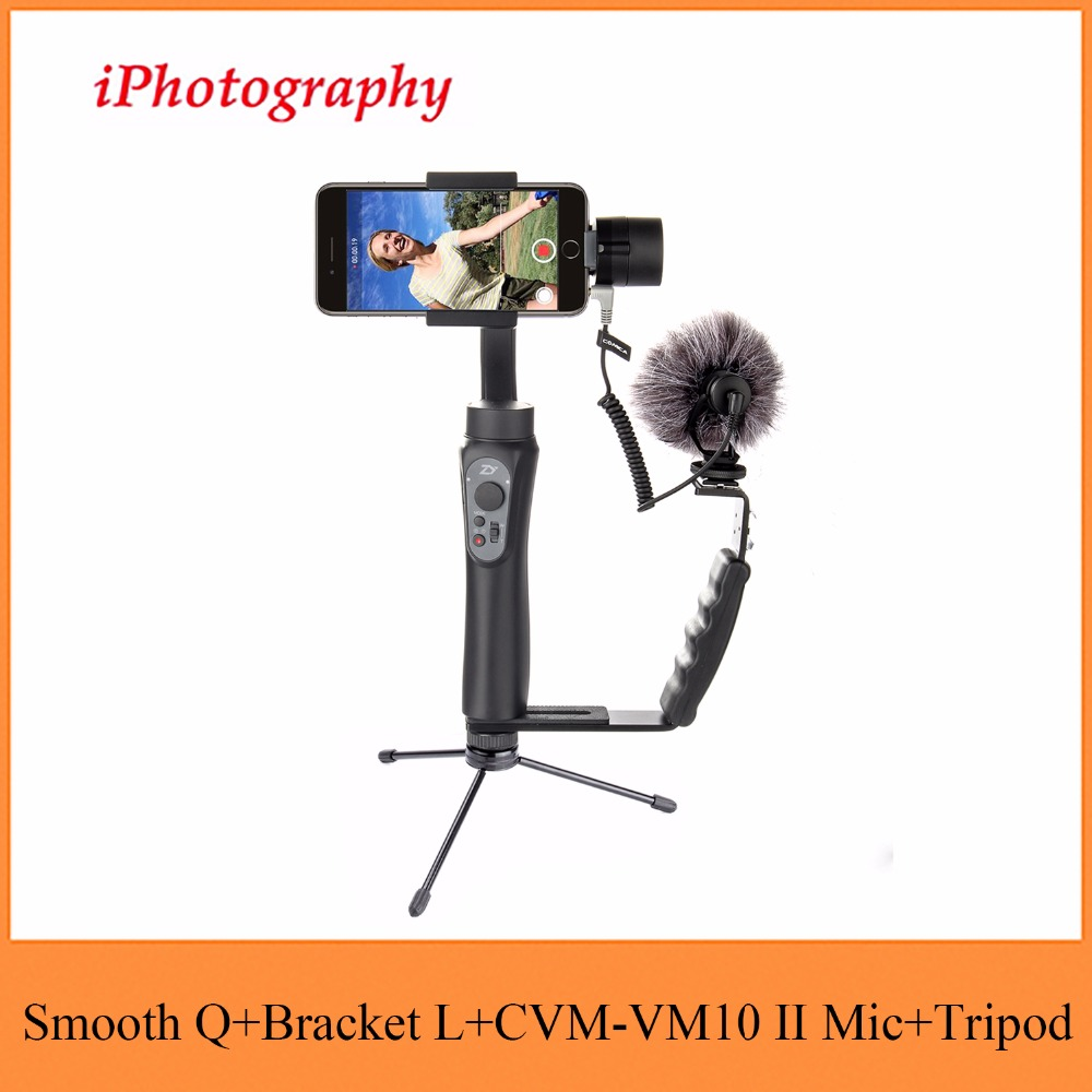 Zhiyun Smooth Q Handheld Gimbal Stabilizer + CVM-VM10 II Microphone + Camera Grip L Bracket with 2 Hot <font><b>Shoe</b></font> Mounts,Holder stand