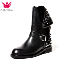 Women's Shoes High quality PU + genuine leather boots fashion rivets square heels autumn winter ankle boots sexy fur snow boots