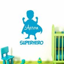 Superman Personalized Name Little Boy Wall Stickers Vinyl Custom Kids Bedroom Decal Cartoon Interior Nursery MuralW-553