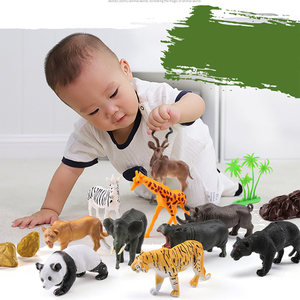 Image 5 - 44pcs Genuine Wild Jungle Zoo Farm Animal Series Jaguar Collectible Model Kids Toy Early Learning Cognitive Toys Gifts Random